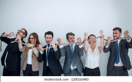 group of business people breaking a strong rope