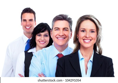 Group of business people. Businessman. Isolated on white background.