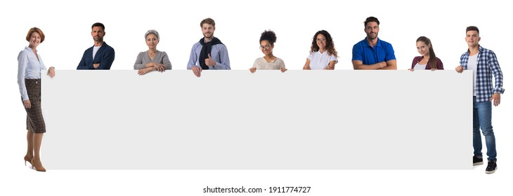 Group of business people in casual clothes holding blank banner ad isolated on white background