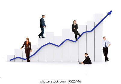 group of business people with a chart representing growth and success - isolated over a white background