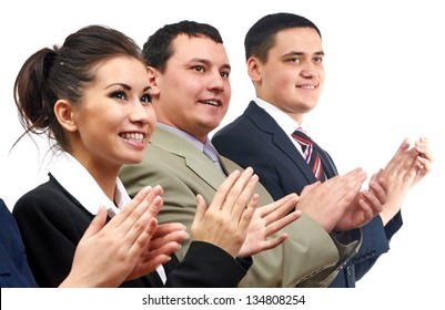 Group of business people clapping in line
