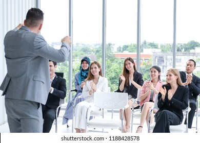 Group of Business people class sitting in conference room with participation involvement of teamwork and leadership opinion
