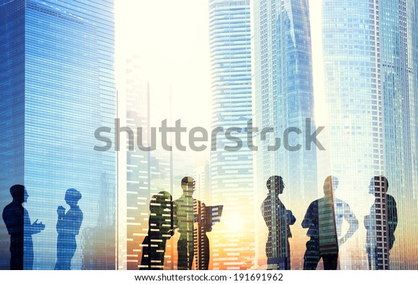 Group of Business People Discussing Outdoors