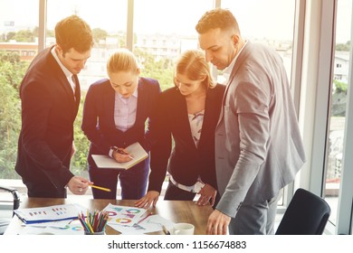 Group of business people discussing work together. Business and brainstorming concept.