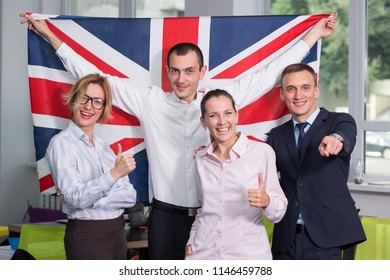 Group of business people with the flag of Great Britain. Business team. Studying business English in the office. Language learn course.