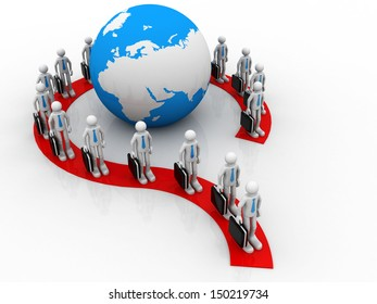 Group of  business people forming question mark around earth globe