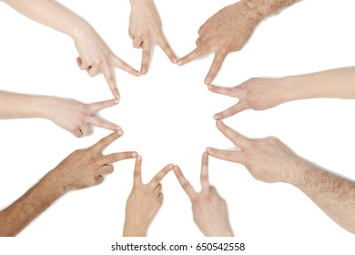 Group of business people hands in solidarity teamwork concept; isolated on white background