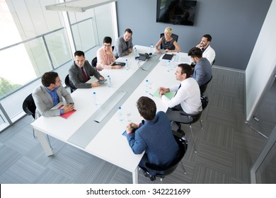 Group of business people having a business meeting in office