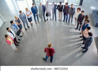 Group of business people having meeting in company