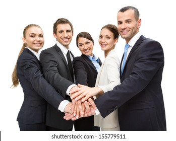 Group of business people, isolated on white. Concept of teamwork and cooperation