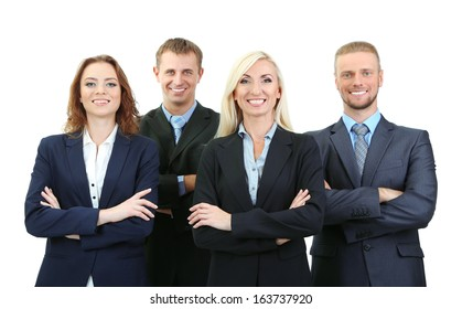 Group of business people isolated on white