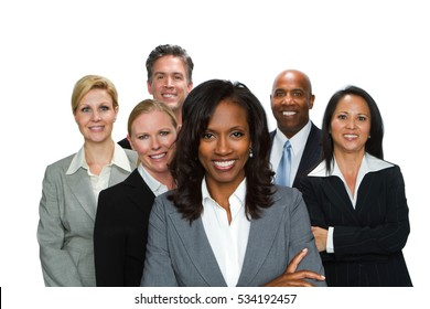 Group of business people isolated on a white background.