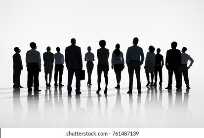 Group of Business people look forward