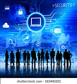 Group of Business People Looking at Computer Security Illustration