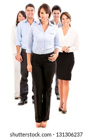 Group of business people looking happy - isolated over white