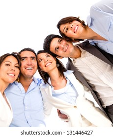 Group of business people looking very happy - isolated over white