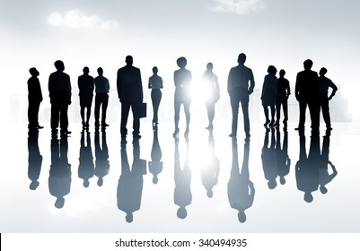 Group Business People Looking Up Vision Concept
