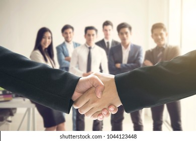group of business people making handshake agreement. concept cooperation.