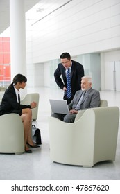 Group of business people meeting in a hall