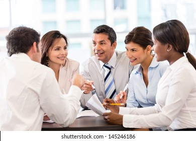 Group of business people in a meeting at the office