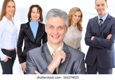 A group of business people in the office.