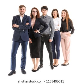 Group of business people on white background