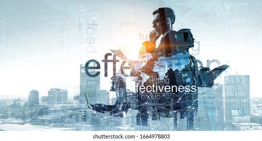 Group of business people outlines with lit background