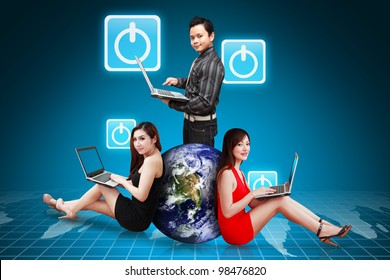A group of business people and Power icon from world map : Elements of this image furnished by NASA