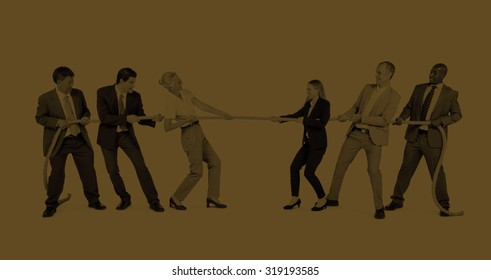 Group of Business People Pulling Rope Concept