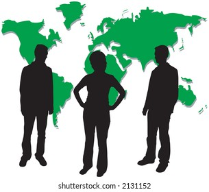 A group of business people silhouettes
