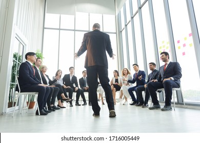 Group of business people sitting listen and present reviews in meeting room, leadership present, business teamwork partner concept.