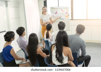 Group of business people sitting on presentation at office in front of Business woman presenting on whiteboard.