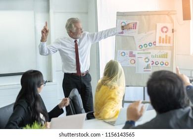 Group of business people sitting on presentation at office in front of the boss or Business man presenting on whiteboard.