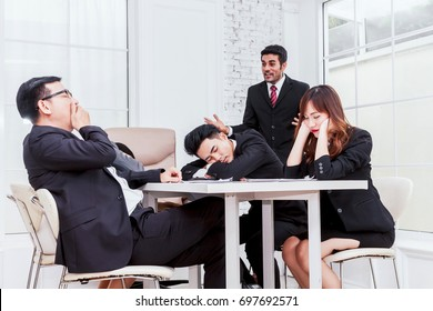Group of business people sleeping at the meeting