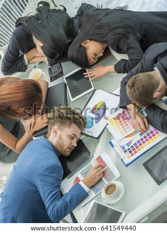 group business people sleeping on table stock photo edit now