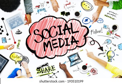 Group of Business People with Social Media Concept
