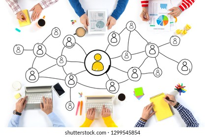 Group of Business People and Social Network concept