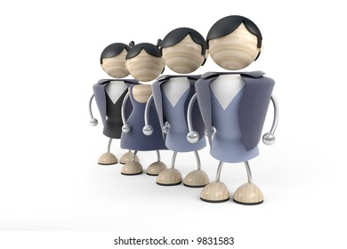group of business people stand, collective of company