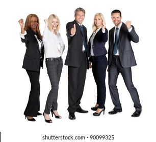 Group of business people standing against white background with thumbs up sign