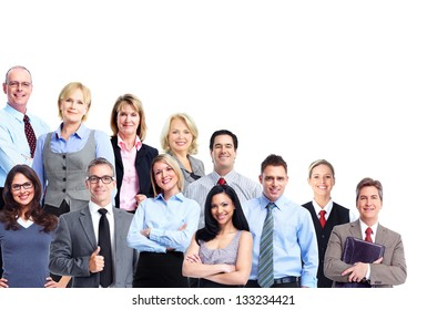 Group of business people. Business team. Isolated over white background.
