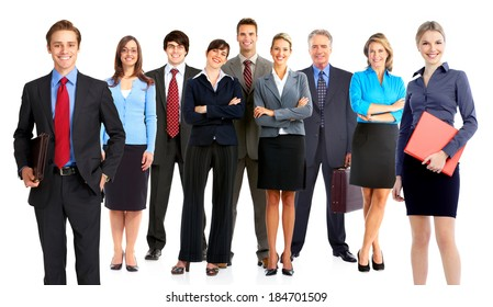 Group of business people team. Isolated over white background.