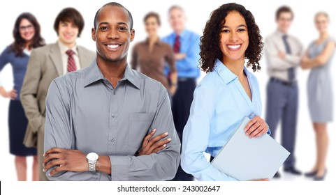 Group of business people team. Isolated white background.