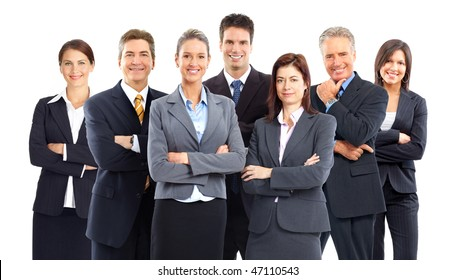 Group of business people team. Isolated over white background