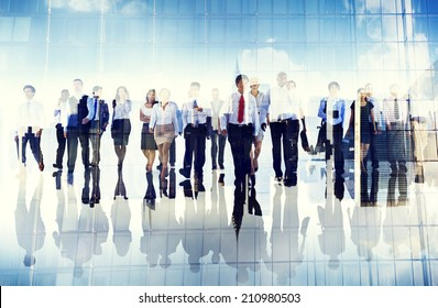 Group of Business People Walking Forward