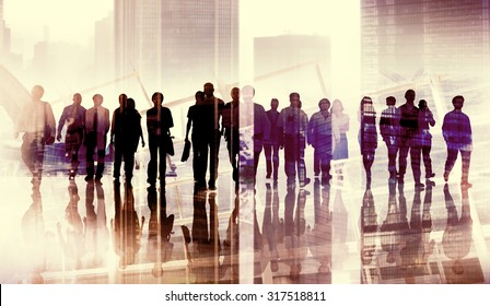 Group of Business People Walking Forward Cityscape Concept