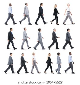 Group of Business People Walking in One Direction