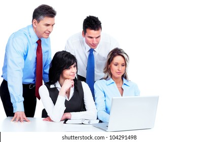Group of business people working in the office. Isolated on white background.