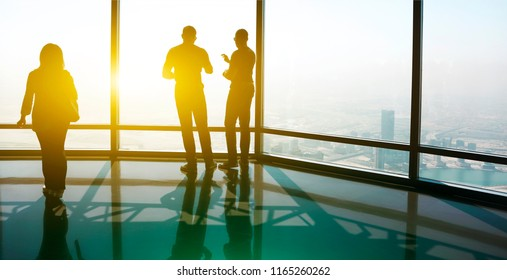 Group of Business People Working in the Office. Silhouette