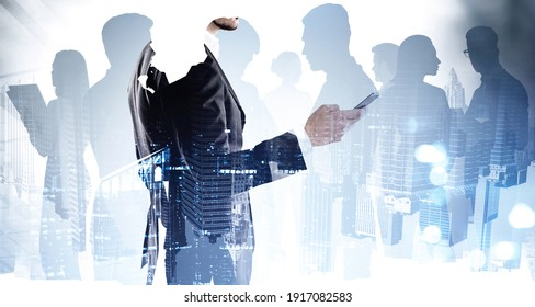 Group of business people working on project, meetings, conference calls, message exchanging, corporate life. New York on background. Networking and recruitment process Double exposure.