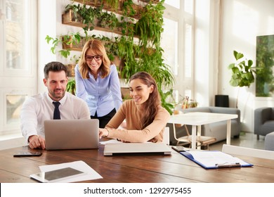 Group of business people working together.  Young secretary woman and financial advisor businessman sitting in front of laptop while middle aged executive professional woman standing behind them.
